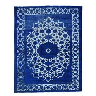 Persian Tabriz Barjasta Denim Blue Overdyed Handmade Rug (7'7 x 9'7)