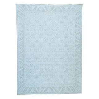 Silver Wash Oushak Rosette Design Handmade Oriental Rug (9'10 x 13'6)
