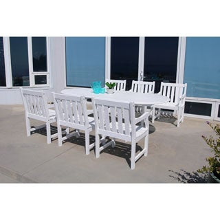 Bradley Eco-friendly 7-piece Outdoor White Hardwood Dining Set with Oval Extention Table and Arm Chairs