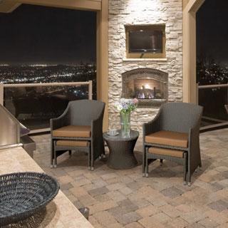 Furniture of America Olivanne 3-piece Espresso Wicker Inspired Conversation Set with Nesting Ottomans