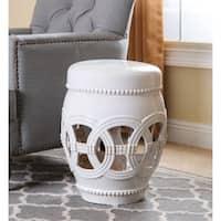 Abbyson Whitney White Ceramic Oversized Garden Stool