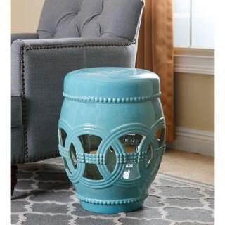 Abbyson Whitney Aquamarine Ceramic Oversized Garden Stool