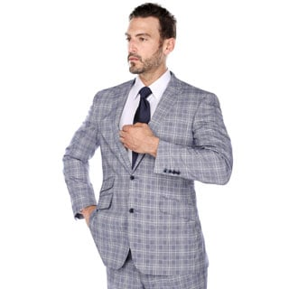 Verno Men's Iacopo Blue and Tan Glen Plaid Classic Fit Italian Style Pic-stitch Peak Lapel 2-piece Suit
