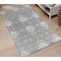 Hand-tufted Saint Thomas White Ice Blended New Zealand Wool and Art Silk Rug - 7'6 x 9'6