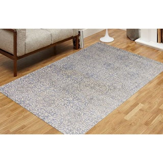 Hand-tufted Saint Thomas Ink Blue Blended New Zealand Wool and Art Silk Rug (7'6 x 9'6)