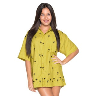 La Leela Women's Beach Hawaiian Green Palm Tree Button Down Casual Dress Shirt