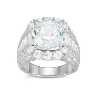 Gioelli Sterling Silver Cushion-cut Micro Pave Cubic Zirconia Ring