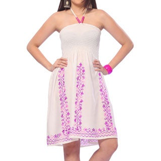 La Leela 3 in 1 Dress Coverup /HalterNeck / Skirt Maxi Embroidered RAYON White
