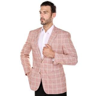 Verno Bartolo Men's Red and Parchment Glen Plaid Classic Fit Italian Style Wide Notch Lapel Blazer