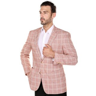 Verno Bartolo Men's Red and Parchment Glen Plaid Classic Fit Italian Style Wide Notch Lapel Blazer