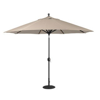 Galtech 11 ft. Auto Tilt LED Umbrella with Black Pole and Sunbrella Shade
