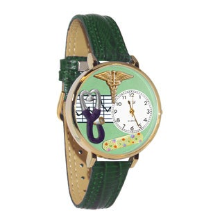 Nurse 2 Green Watch in Gold