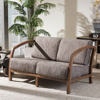 Baxton Studio Velda Modern and Contemporary Walnut Wood Gravel Fabric 2-seater Loveseat