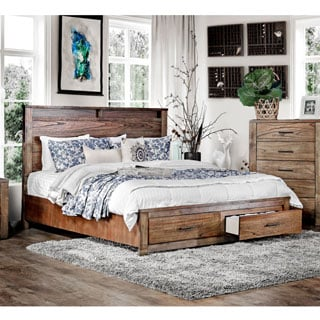 Furniture of America Casso Rustic Oak Storage Platform Bed