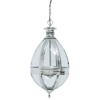 Tear-drop Nickel Finish 3-light Hanging Lamp