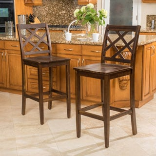 Christopher Knight Home Naples Acacia Wood Barstool (Set of 2)