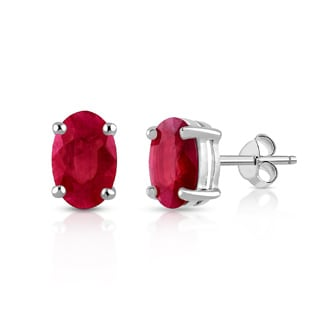 Orchid Jewelry 925 Sterling Silver 2 1/4ct Genuine Ruby Stud Earrings