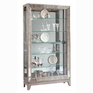 Platinum Finish Wood Side Door Entry Curio Cabinet