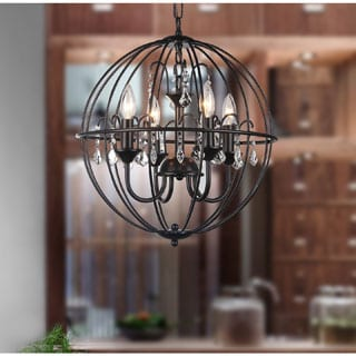 Kitty 4-light Crystal 16.5-inch Black Spherical Chandelier
