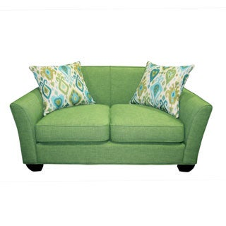 Porter Clover Fern Green Mid-century Modern Loveseat with 2 Teal Ikat Accent Pillows