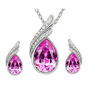 Austrian Crystal Water Drop Silver Earring and Necklace Set