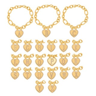 Journee Collection Goldtone Stainless Steel Cubic Zirconia Heart Charm Link Bracelet