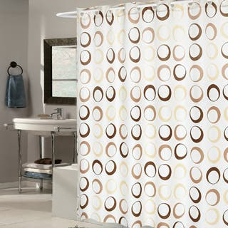 brown and white shower curtain. EZ On Brown Circles Fabric Shower Curtain with Built in Hanging Rings Curtains For Less  Overstock com Vibrant