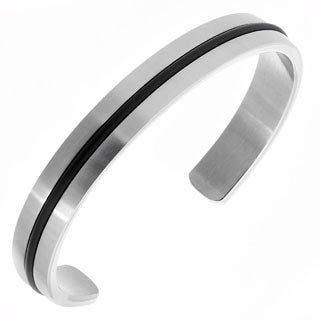 Men's Brushed Two-tone Stainless Steel Inlay 10mm Wide 7-inch Bangle Bracelet