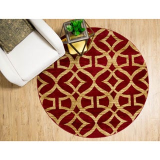 """Home Dynamix Royalty Collection Traditional Round Red Area Rug (7'10"""")"""