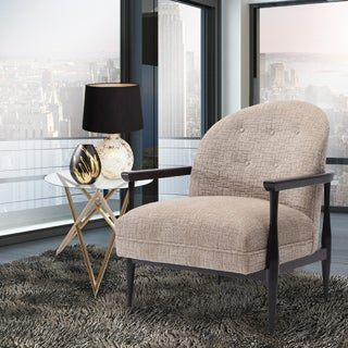 Armen Living Carlsbad Sand Fabric Accent Chair with Brown Legs