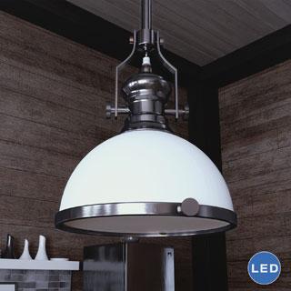 Vonn Lighting Dorado 12-inches LED Pendant Light Hanging Industrial Pendant Lighting with Glass Shade in Satin Nickel