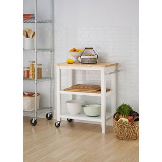 White Wooden Kitchen Cart