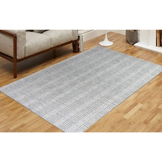 Hand-Woven Broadmoor Gray Wool and Cotton Durry Area Rug - 2' x 3'