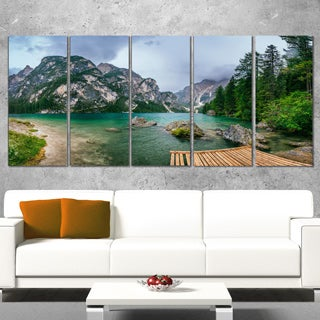Designart 'Lake Between Mountains' Landscape Photo Canvas Print