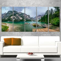 Designart 'Lake Between Mountains' Landscape Photo Canvas Print - Green
