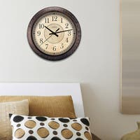 La Crosse Clock 404-2635 14 Inch Round Brown Plastic Analog Wall Clock