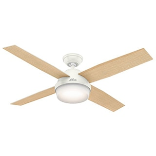 Hunter Fan Dempsey Collection 52 inch Fresh White with 4 Blonde Oak or Fresh White Reversible Blades