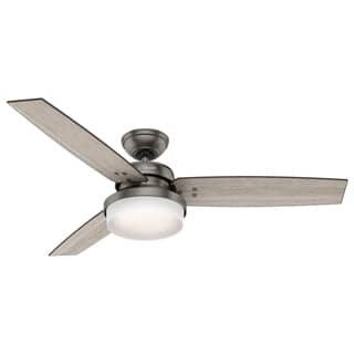 Hunter Fan Sentinel 52 inch Brushed Slate with 3 Light Grey Oak or Grey Walnut Reversible Blades|https://ak1.ostkcdn.com/images/products/P18606819p.jpg?impolicy=medium