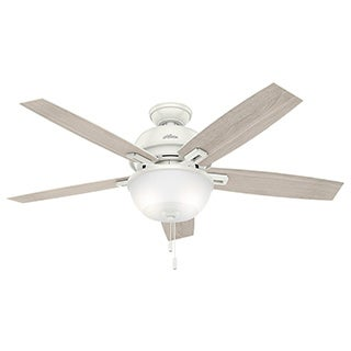 Hunter Fan Donegan Collection 52 inch Fresh White with 5 Fresh White or Light Grey Oak Reversible Blades