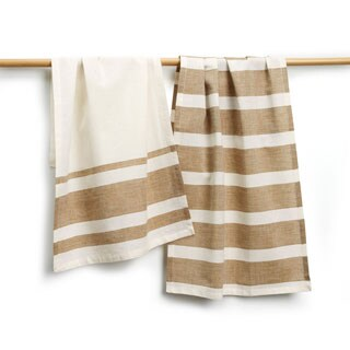 Handmade Sustainable Threads Berkley Cotton Stripe 2-piece Tea Towel Set (India)
