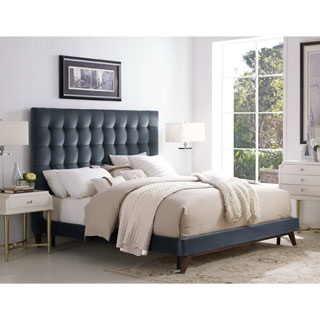 Eden Grey Velvet Tufted Platform Bed