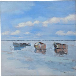 Y-Decor 36 x 36-inch 'Boats on the Water' Quiet Perfect Day at Sea with Three Boats on the Water OriginalCanvas Artwork