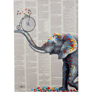 Amazing Elephant Holding a Bicycle with a Splash of Color Canvas Artwork