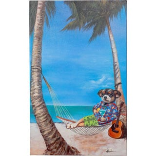 Y-Decor 32 x 20-inch 'The Good Life Relaxing in Paradise' Person Relaxing in a Hammock On the Beach Original Canvas Artwork