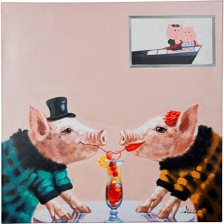 Friendship is What Life is About Two Pigs Sharing a Soda Vibrant Canvas Artwork