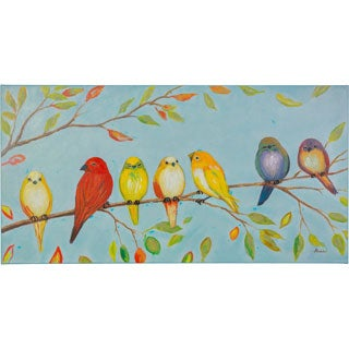Love Birds Sitting on a Branch Soft Color Palate Canvas Artwork