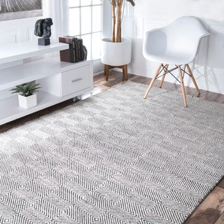 Nuloom Handmade Concentric Diamond Trellis Wool Cotton Rug