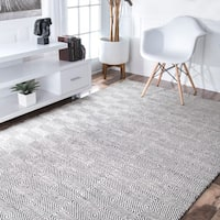 nuLOOM Handmade Flatweave Concentric Diamond Trellis Wool/ Cotton Rug (10' x 14') - 10' x 14'