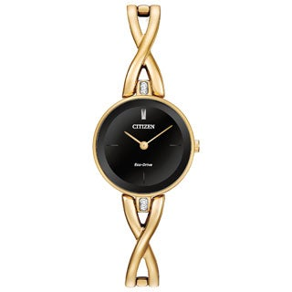 Citizen Women's Goldtone Stainless Steel Silhouette Eco-Drive Black Dial Watch