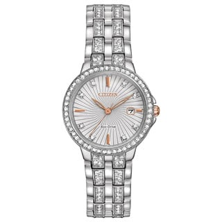 Citizen Women's Stainless Steel Silhouette Crystal Eco-Drive Two-tone Dial Austrian Crystal Watch